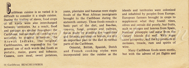 Caribbean Beachcomber July/August 1969 – Caribbean Food Overview