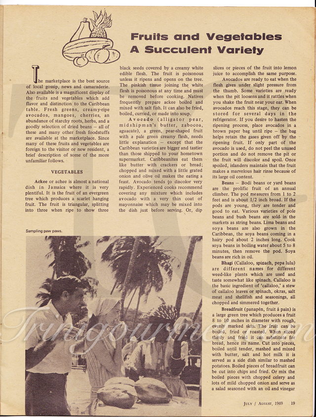 Fruits & Vegetables: A Succulent Variety (page 1) – Caribbean Beachcomber July/August 1969