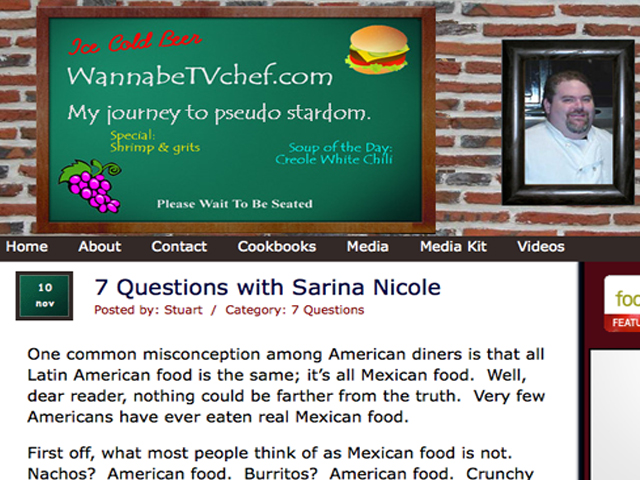 "Check Me Out In WannaBeTVChef's ""7 Questions With Sarina Nicole""!"