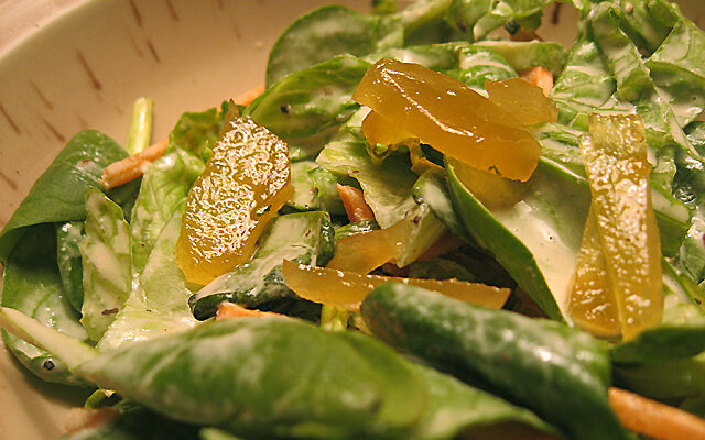 Sarina's Spinach-Ginger Salad (recipe)